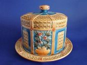 Rare Wedgwood Majolica 'Luther' Aesthetic Movement Cheese Keeper Dome c1890